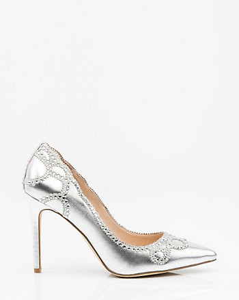 Jewel Embellished Metallic Pointy Toe Pump