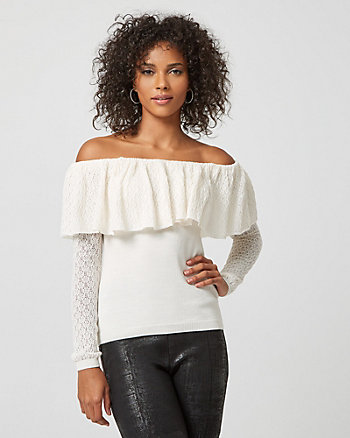 Pointelle Stitch Off-The-Shoulder Sweater