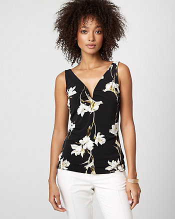 Floral Print Knit Deep V-Neck Top