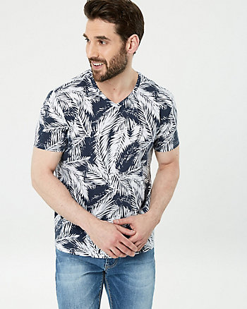 Leaf Print Cotton Blend V-Neck Tee