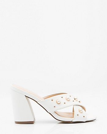Pearl Embellished Criss-Cross Slide