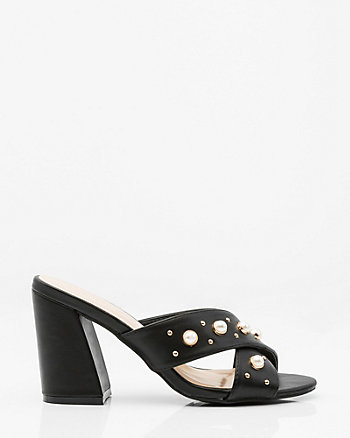 Pearl Embellished Criss-Cross Mule