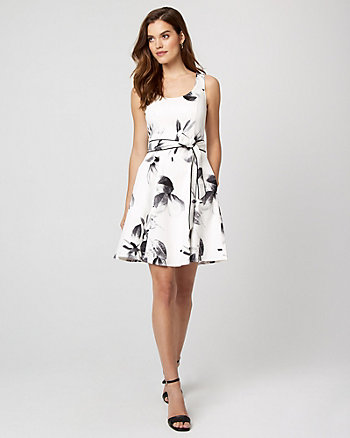 Floral Print Cotton Sateen Fit & Flare Dress