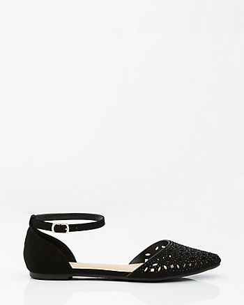 Laser Cut Pointy Toe d'Orsay Flat