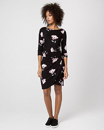 Floral Print Jersey Boat Neck Pleated Dress