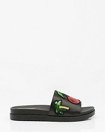 Cherry Patch Satin Slide Sandal