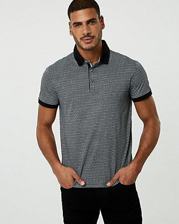 Geo Print Cotton Blend Polo Shirt