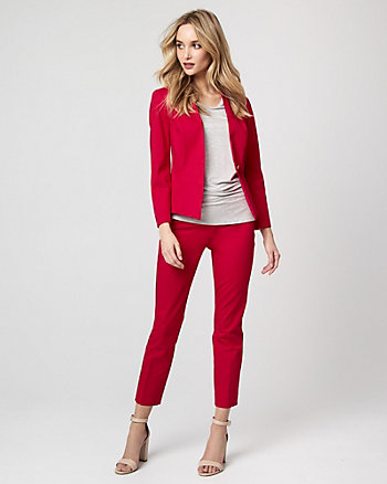 Cotton Twill Button-Front Blazer