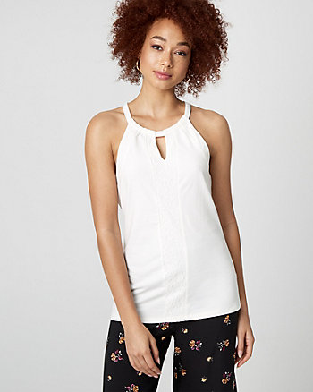 Cotton Blend & Lace Halter Blouse