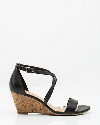 Leather Criss-Cross Cork Wedge