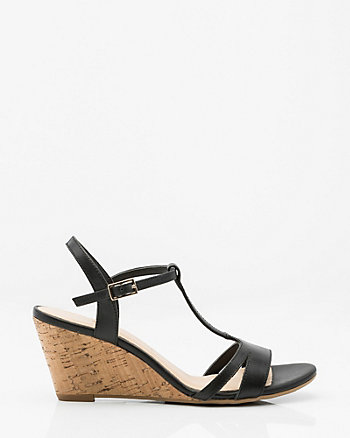 Leather T-Strap Cork Wedge