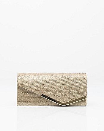Glitter Mesh Asymmetrical Flapover Clutch