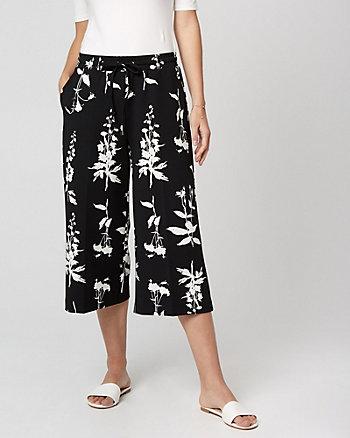 Jupe-culotte à motif floral en crêpe tricot