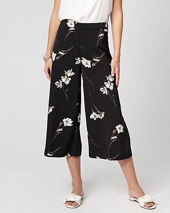 Jupe-culotte fleurie en crêpe de Chine