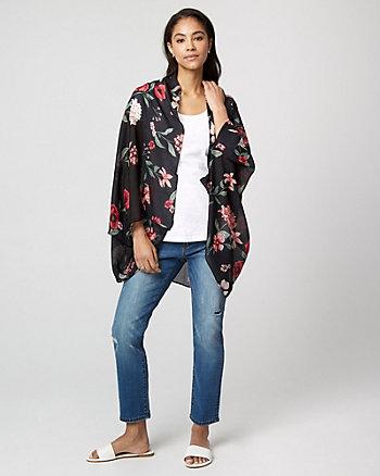 Floral Print Woven Kimono