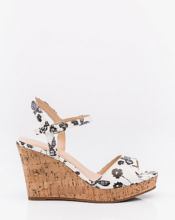 Floral Print Cork Wedge Sandal