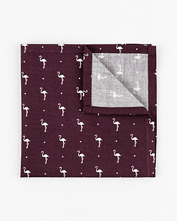 Flamingo Print Cotton Pocket Square