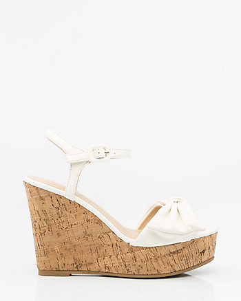 Bow-Trim Cork Wedge Sandal