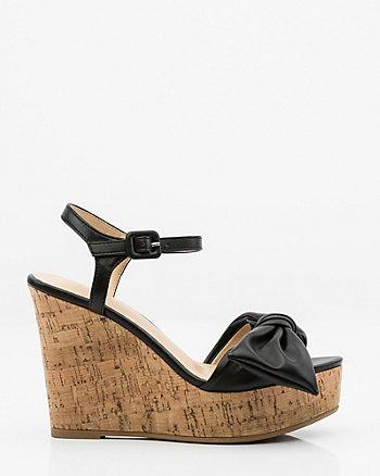 Bow-Trim Cork Wedge Sandal