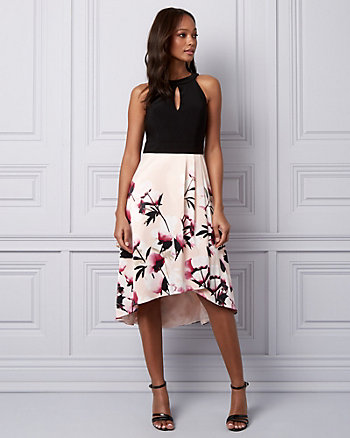 Floral Print Knit & Satin Cocktail Dress