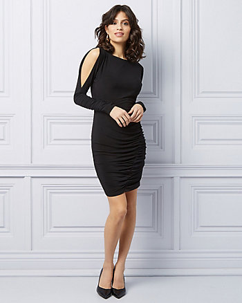 Knit Boat Neck Cutout Sleeve Dress