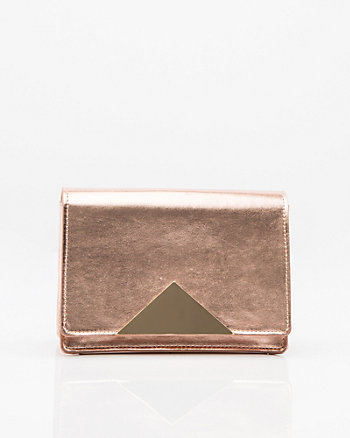 Metallic Faux Leather Flapover Clutch