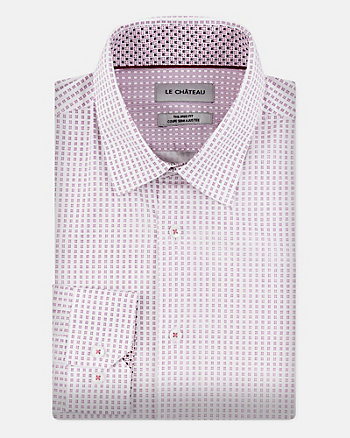 Geo Print Stretch Cotton Tailored Fit Shirt