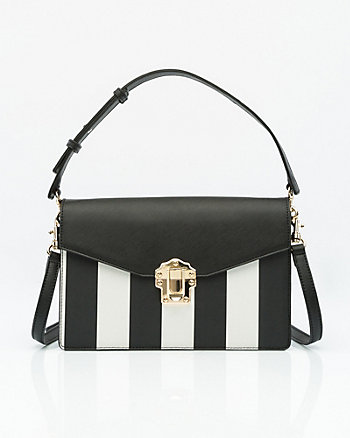 Stripe Saffiano Faux Leather Bag