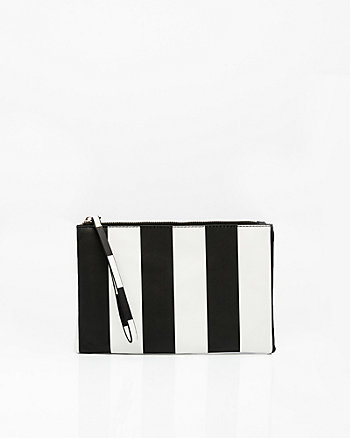 Stripe Leather-Like Cosmetic Pouch
