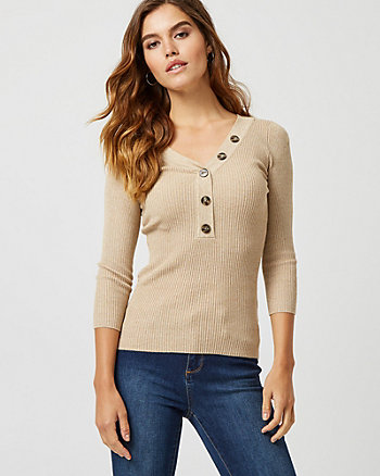 Rib Tweed Henley Neck Sweater