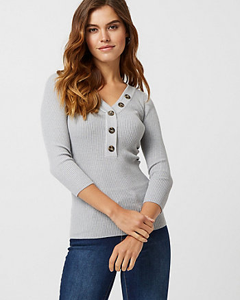 Rib Tweed Henley Neck Sweater