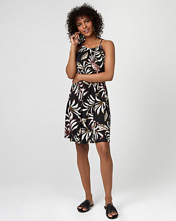 Tropical Print Challis Halter Dress