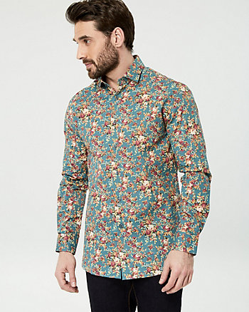 Floral Print Cotton Tailored Fit Shirt
