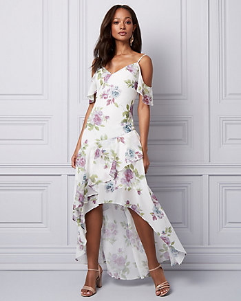Floral Chiffon Cold Shoulder Ruffle Dress