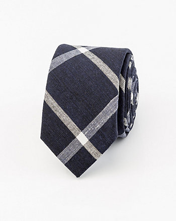 Check Print Cotton Blend Tie
