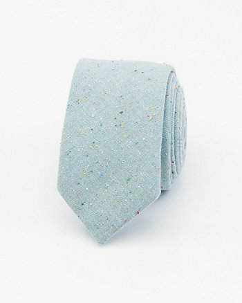 Speckled Cotton Blend Skinny Tie