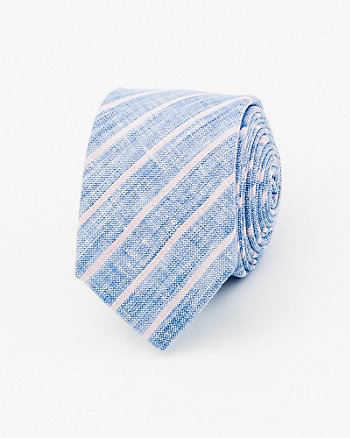Stripe Cotton Blend Skinny Tie