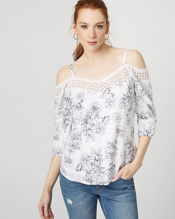 Floral Cotton & Lace Cold Shoulder Blouse
