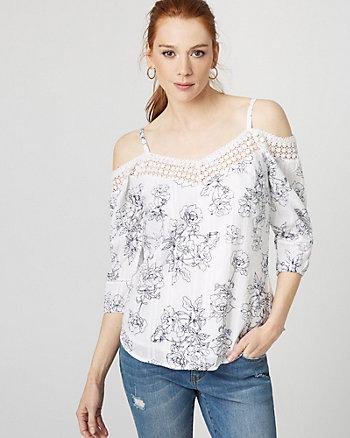Floral Cotton & Lace Cold Shoulder Blouse