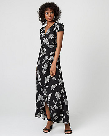 Floral Print Wrap-Like Maxi Dress