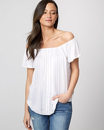Stripe Viscose Off-the-Shoulder Blouse