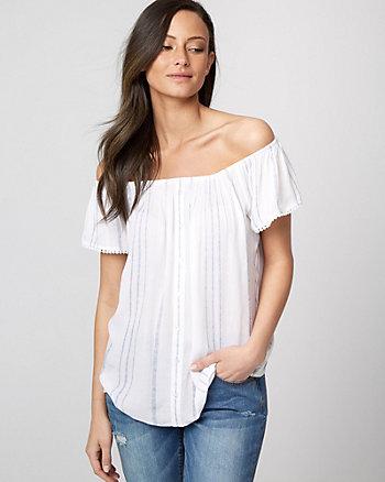Stripe Viscose Off-the-Shoulder Blouse