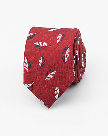 Italian-Made Leaf Print Silk Blend Tie