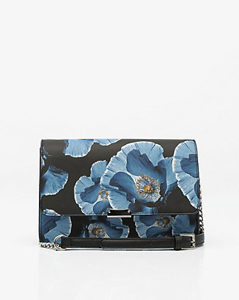 Floral Print Faux Leather Flapover Clutch