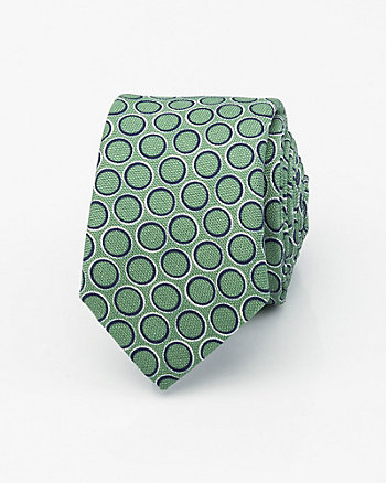 Italian-Made Circle Print Silk Tie