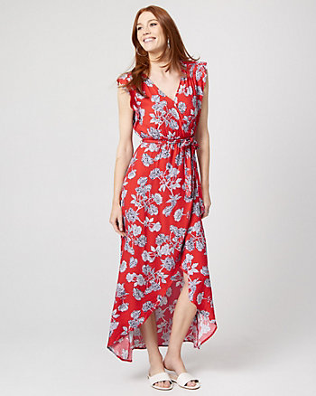 Floral Viscose Crêpe Wrap-Like Maxi Dress
