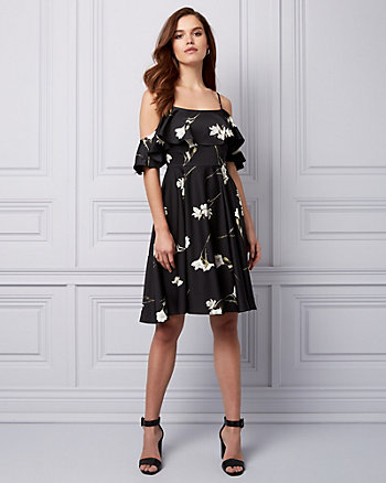 Floral Print Satin Cold Shoulder Dress