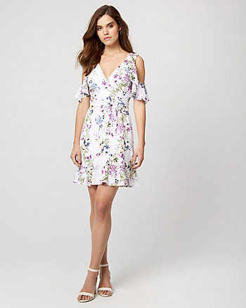 Floral Print Cold Shoulder Flounce Dress