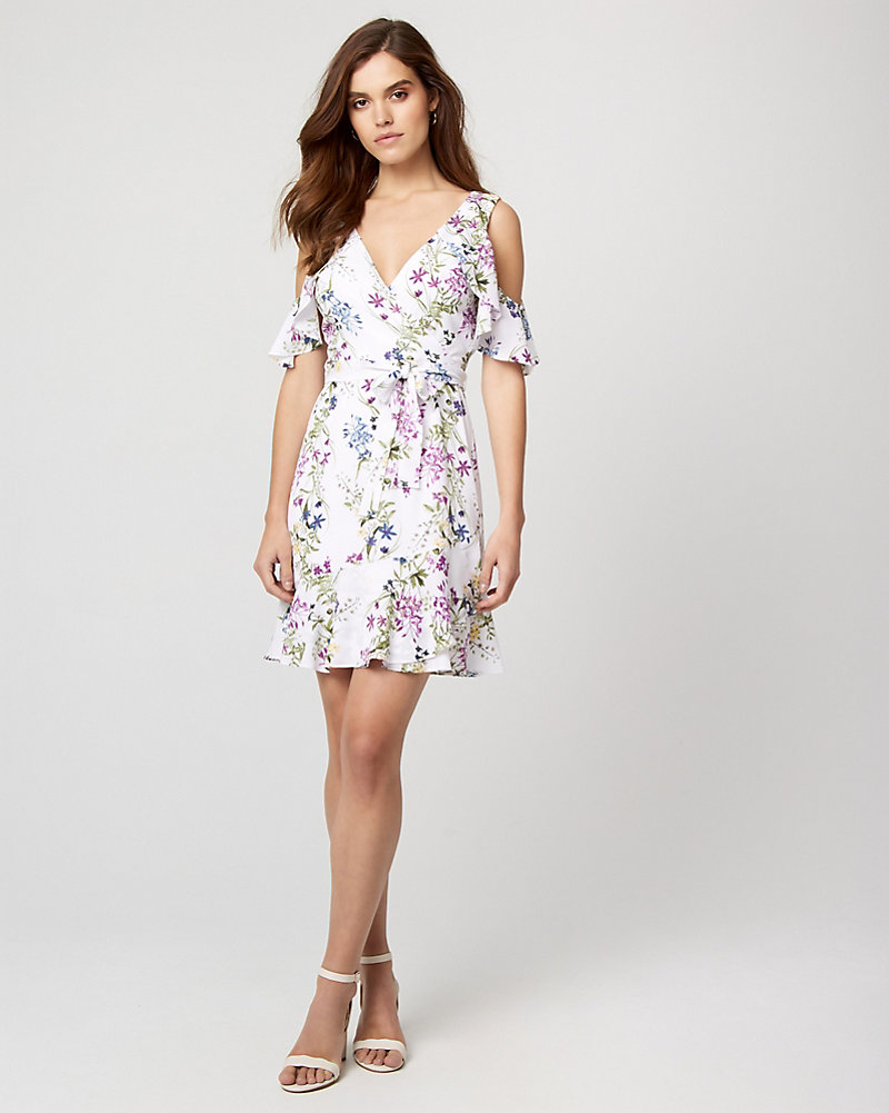 2fe34a48b6 Floral Print Cold Shoulder Flounce Dress | LE CHÂTEAU