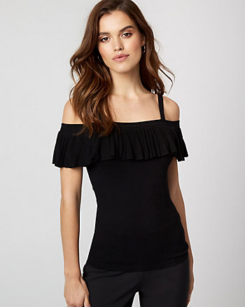 Jersey Knit Cold Shoulder Ruffle Top
